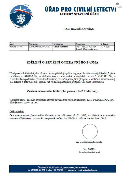 sdělení ozrušení OHP